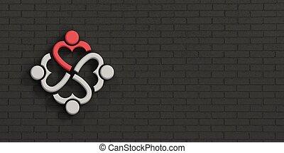 coeur, gens, illustration, wall., rendre, noir, brique, éditorial, 3d