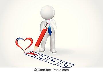 coeur, gens, liste contrôle, -, petit, vote, 3d