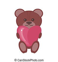 coeur, gentil, ours, teddy