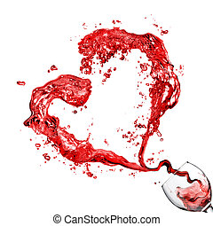 coeur, gobelet, verser, isolé, verre, blanc rouge, vin