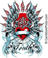 coeur, gothique, aile