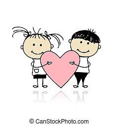 coeur, grand, enfants, valentin, day., conception, ton, rouges