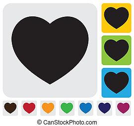 coeur, graphique, love-, icon(symbol), simple, vecteur, humain