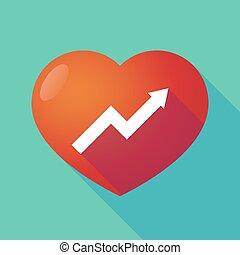 coeur, graphique, rouges, long, ombre