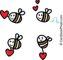 coeur, griffonnage, abeille, isolé, mignon, ensemble, valentine, rouges, voler
