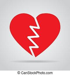coeur, gris, cassé, fond, ombre, rouges, icône