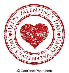 coeur, grunge, valentine, timbre, texte, intérieur, isolé, caoutchouc, stamp), écrit, vecteur, (happy, fond, illustrateur, blanc, jour