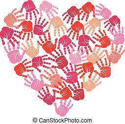 coeur, handprint, vecteur