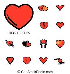 coeur, happiness-, graphique, icônes, ), (, résumé, signes, vecteur, amour