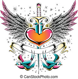 coeur, hirondelle, emblème, aile