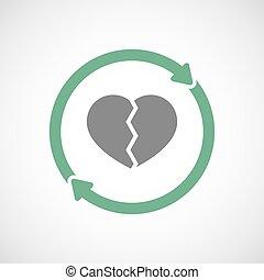 coeur, icône, réutilisation, isolé, cassé
