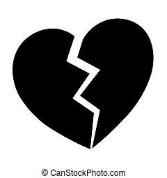 coeur, icône, vecteur, illustration, cassé