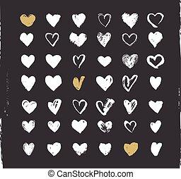 coeur, icônes, ensemble, valentines, main, ions, illustrations, dessiné, jour