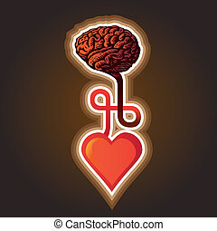 coeur, -, illustration, cerveau, connexion, entre