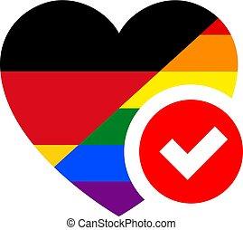 coeur, illustration, forme, drapeau, vecteur, conception, ton