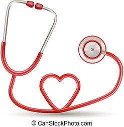 coeur, illustration., réaliste, isolé, arrière-plan., forme, vecteur, stéthoscope, blanc rouge