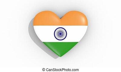 coeur, inde, couleurs, drapeau, impulsions, boucle