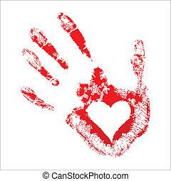 coeur, intérieur, handprint, rouges