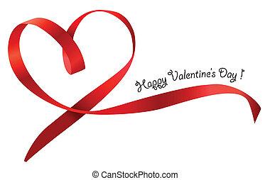 coeur, isolé, arc, arrière-plan., vecteur, ruban, blanc rouge