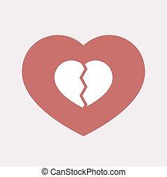 coeur, isolé, cassé