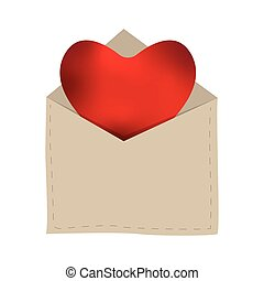 coeur, isolé, enveloppe