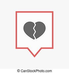 coeur, isolé, tooltip, cassé