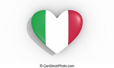 coeur, italie, couleurs, drapeau, impulsions, boucle