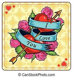 coeur, jour, rose, fond, valentine