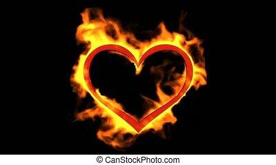 coeur, jour valentine, brûlé