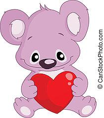 coeur, koala, tenue