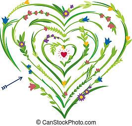 coeur, labyrinthe, formé, floral