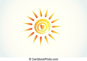 coeur, logo, amour, soleil