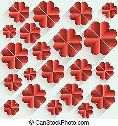 coeur, long, ombre, fleur, rouges