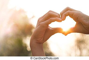 coeur, love., formulaire, mains
