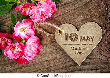 coeur, mères, mai, formé, roses, 10ème, jour, carte