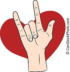 coeur, main, amour, rouges, signe