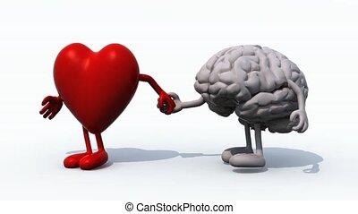 coeur, main, cerveau, promenade