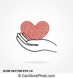 coeur, main, icône