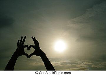 coeur, main, ombre