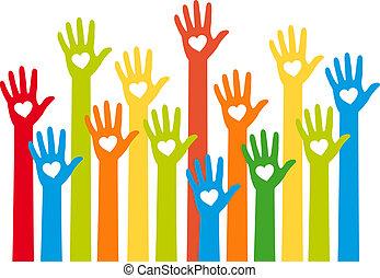 coeur, mains, coloré, vecteur