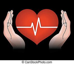 coeur, mains humaines