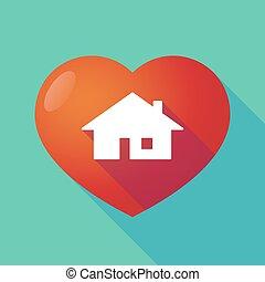 coeur, maison, rouges, long, ombre