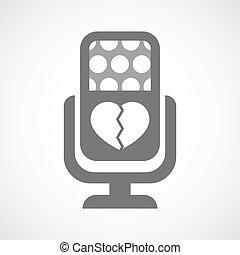 coeur, microphone, icône, isolé, cassé