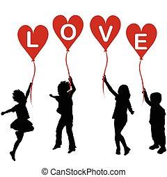 coeur, mot, silhouettes, amour, ballons, enfants