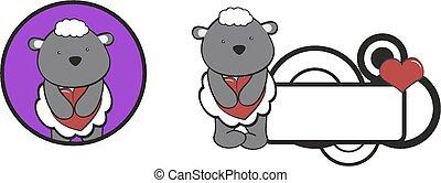 coeur, mouton, valentin, étreinte, dessin animé