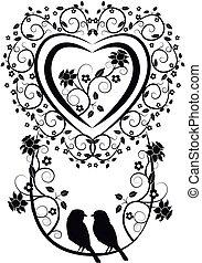 coeur, oiseaux, fleurs, 2