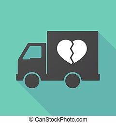coeur, ombre, camion, long, cassé