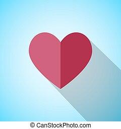 coeur, ombre, rouges, long