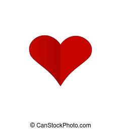 coeur, ombre, rouges, signe