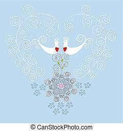coeur, ornement, oiseaux, amour